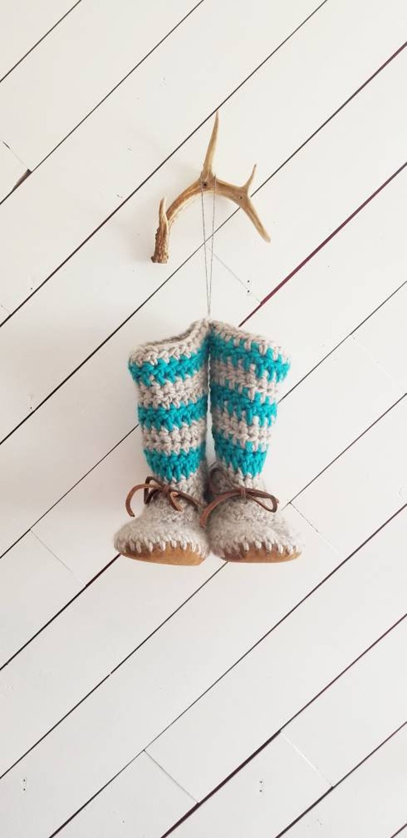 fdeba61d8de6a Womens/ladies turquoise boot Slippers/Mukluks by EcoSoles, Crochet/wool  slippers, leather sole slippers, sheepskin lined slippers