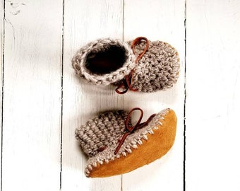 Natural leather sole slippers in every size.  Baby booties, children padraigs, crochet slippers, baby shoes, sheepskin slippers, mukluks