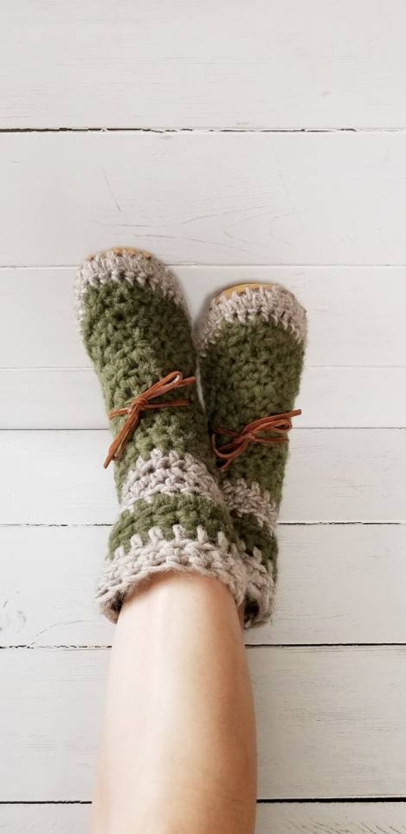 d835d0a5fb9d7 Womens/ladies boot Slippers/Mukluks by EcoSoles- custom colors,  Crochet/wool slippers, leather sole slippers, sheepskin lined slippers, Moss