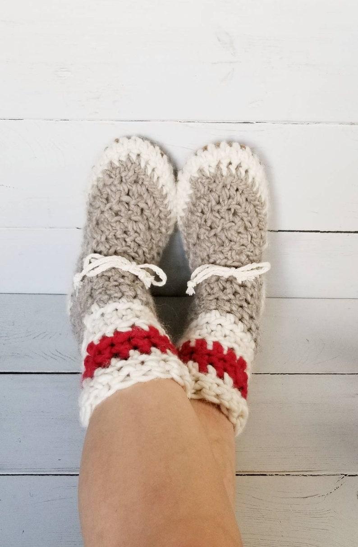 48cde5ec4e222 Womens/ladies demi boot sock monkey Slippers/Mukluks by EcoSoles,  Crochet/wool slippers, leather sole slippers, sheepskin lined slippers