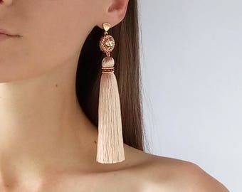 Beige tassel earrings Long champagne earrings Gold beige Blush earrings fringe Gift for sister Light silk tassel earrings Gift for friend