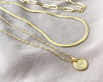 Gold snake necklace, Link chain choker, Herringbone necklace, North star necklace, Long coin necklace, Stacking chain set, Layering Necklace