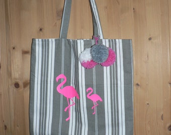 Tote bag French ticking - Flamingo - double - tote bag - shopping bag