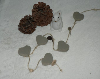 Heart Garland to hang - natural home - pinecone - natural Twine