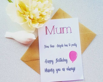 Birthday Bereavement Card Mum Dad Nan Grandad Personalised I Miss You In Heaven Angels Grave Memorial Greeting Not Plastic