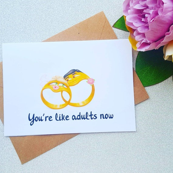 Funny Engagement Card You/'re Like Real Adults Now Funny Adults Wedding Card