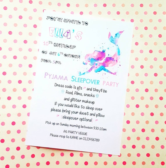 Pretty Pink Sleepover Makeup Slumber Personalised Party Invitations