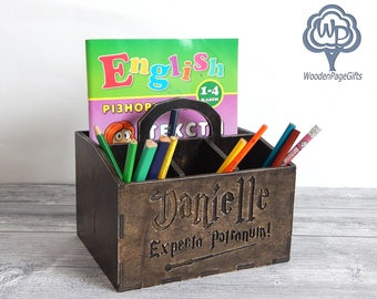 Personalized Desk Organizer Harry Potter wood desk organizer name Pencil Cup  Wood pencil holder Wood Name Sign Children's Name Sign