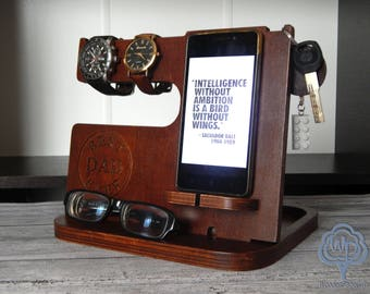 Wood docking station personalized Iphone Charging station Fathers day gift valentines day gift Dad  Birthday Gifts Dad Gifts Gift for dad