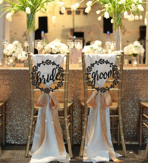 Wedding Chair Signs Bride and Groom Chair Signs Wooden Mr and Mrs Signs Copper Stand Welcome Sign Wedding laser cut sign His and hers