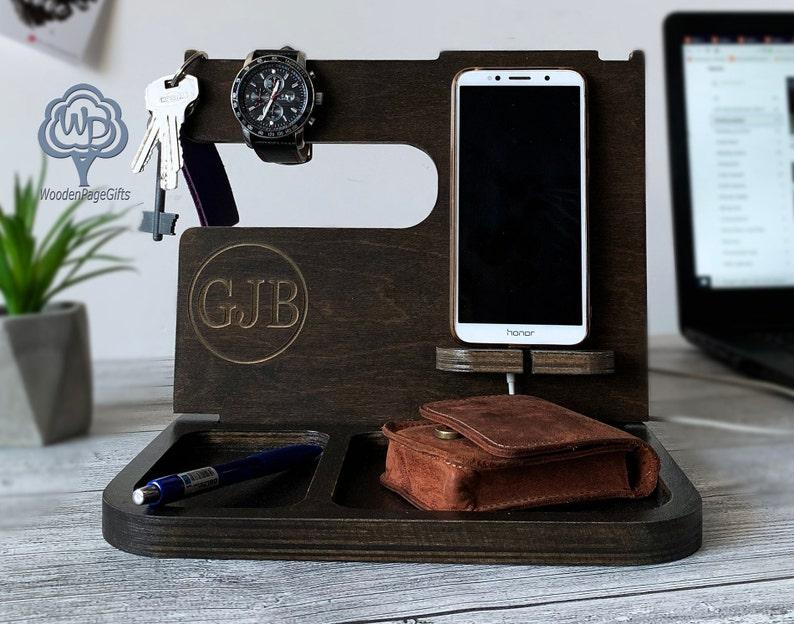 Wood docking station/Dad Birthday Gifts/Docking stand/Charging image 0