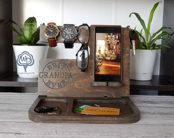 iPhone Docking Station Father's Day Gift Nightstand Organizer iPhone Charging Station Dad Birthday Gifts Dad Gift for dad Gift for grandpa