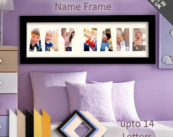 Any Name / Message Picture Frame Unique Personalized Word Gift 3 - 14 Letters. Made to Order - Create your own.