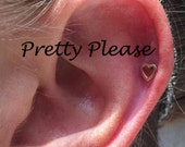 Bohemian Polished Tragus Heart Cartilage Earring, Heart Tragus earring, Tragus stud, Helix earring Flat back