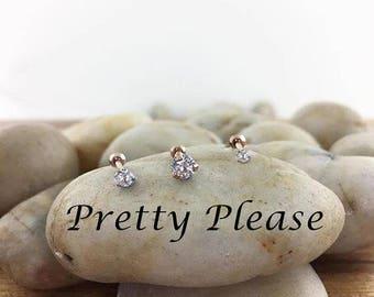 3 x Cubic Zirconia Tragus Piercing Stud SET ,16G Sparkle Cartilage Stud, Cartilage Helix Earring,Clear Crystal Tragus Bar,