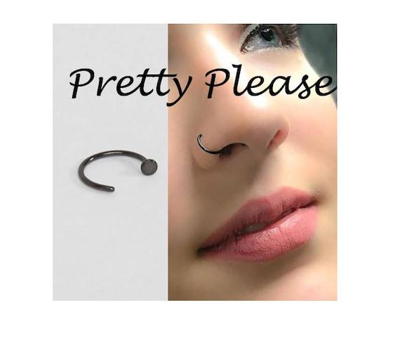 Black Nose Hoop Open Nose Ring 20g Surgical Steel Black Nose Etsy