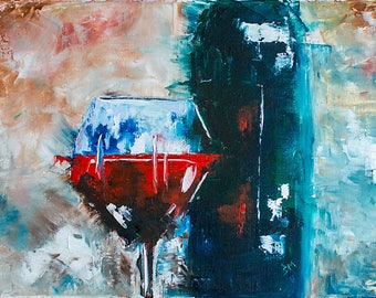 Red wine and glass on the table - Original still life, painting oil on canvas