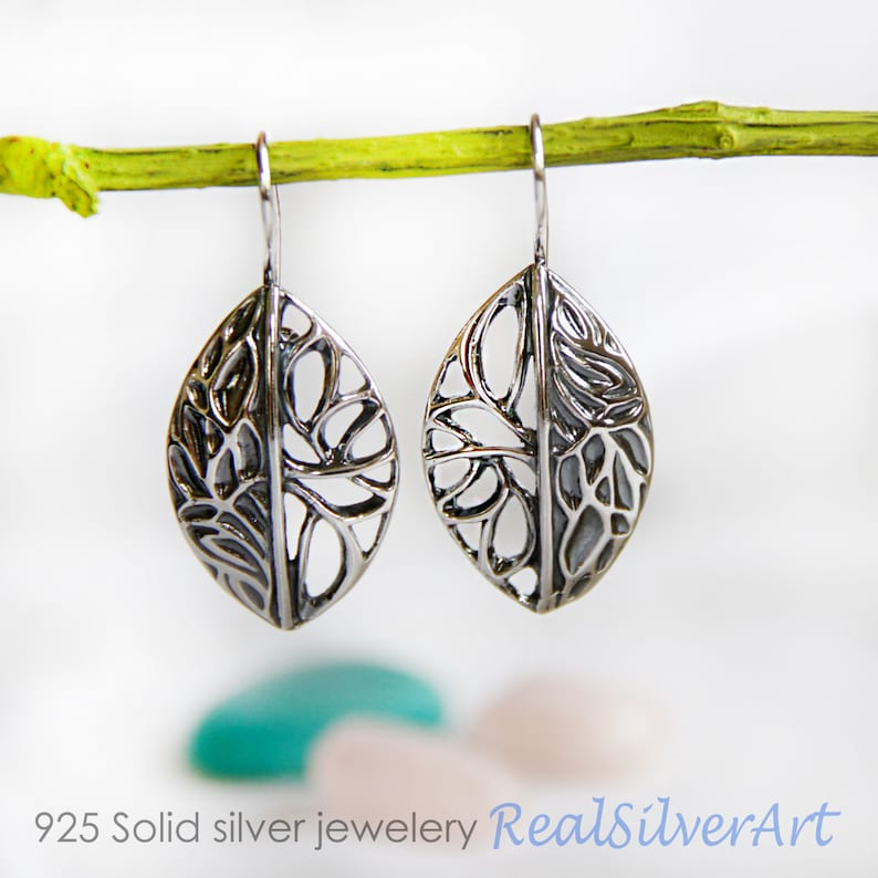 925 silver jewelry Silver jewelry set pendant and earrings Leaves earrings Leather Necklace pendant  Floral jewelry Natural jewelry
