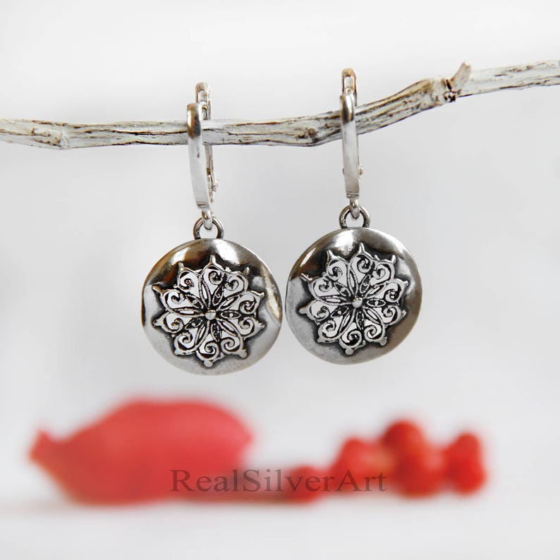 Silver set Silver earrings Solid silver jewelry Romantic jewelry Dangle earrings Vintage style jewelry Gifts for her Silver pendant