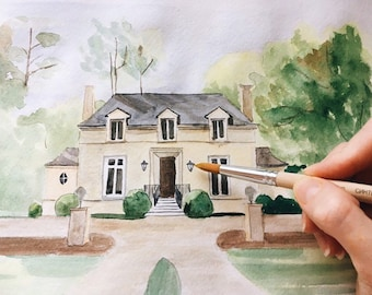 Custom Home Portrait Watercolor House Painting / Housewarming gift / watercolor House Illustration / New Home Gift / Grandmother Gift