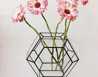 Geometric Terrarium, Glass Geometric Terrarium Container, Handmade Glass Terrarium, Geometric Home Decor, Stained Glass Terrarium,  Gifts
