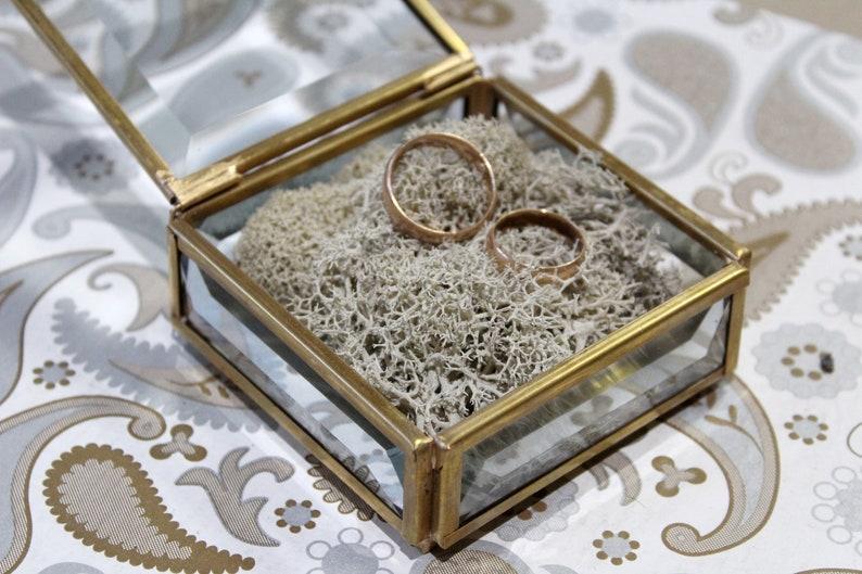 Gold Glass Box Wedding Ring Box Wedding Gift Geometric Ring Box Glass jewelry box Ring pillow Box Jewellery Box Gold Ring Box