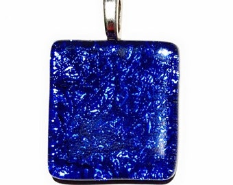 Blue Crinkle Texture Dichroic Fused Glass Pendant