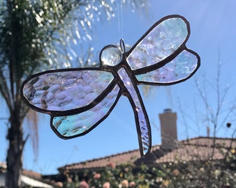 Rainbow Transparent Irridized Dragonfly Stained Glass Sun Catcher