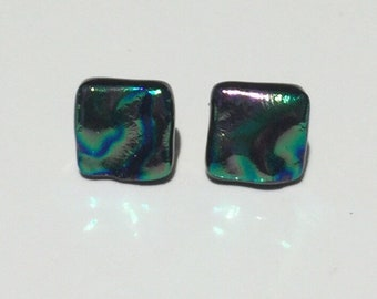 Pink and Green Ripple Dichroic Fused Glass Stud Earrings with Solid Sterling Silver Posts