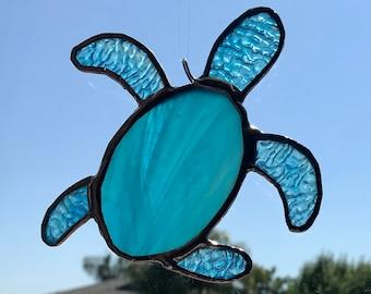 Aqua Teal Blue Sea Turtle Stained Glass Sun Catcher