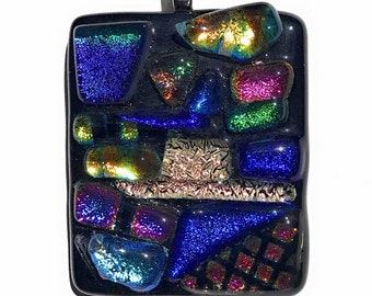 Rainbow Mosaic Dichroic Fused Glass Pendant