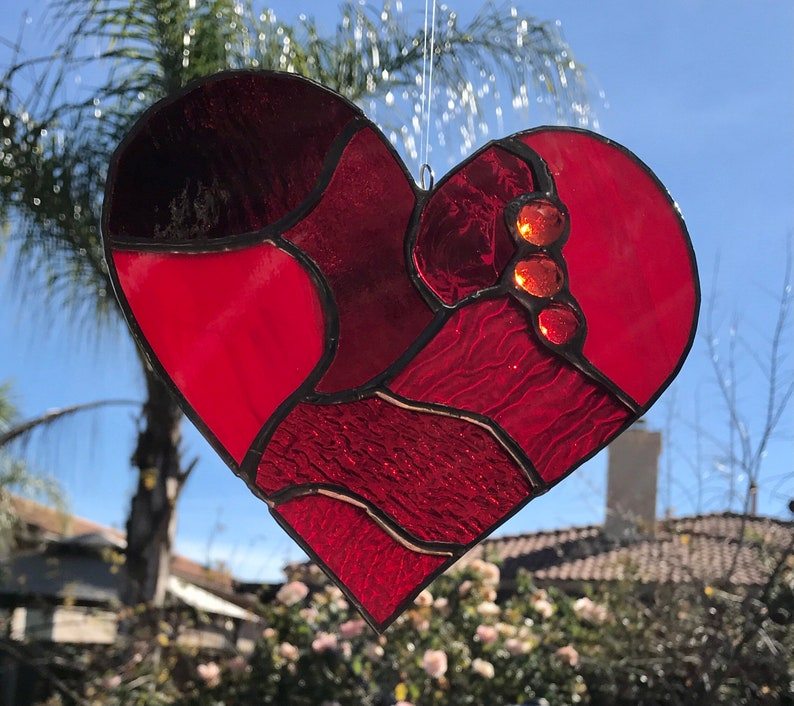 Beautiful Red Stained Glass Heart Mosaic Sun Catcher