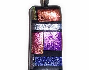 Colorful Rainbow Dichroic Mosaic Dichroic Fused Glass Pendant