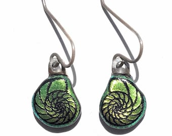 Small Green Nautilus Shell Laser Engraved Etched Dichroic Fused Glass Earrings with Solid Sterling Silver Ear Wires