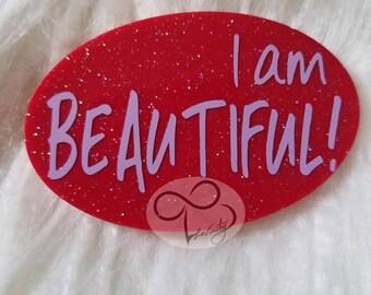 I Am Beautiful Red Shimmer Positive Affirmation Inspirational Motivational Oval Magnet Saying