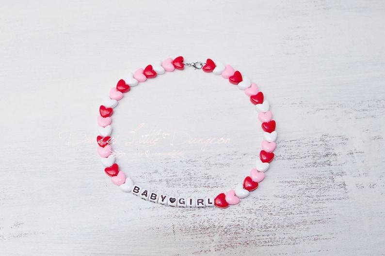 bd8324926 DDLG BDSM Cute Custom Naughty Nickname Word Heart Beads Choker   Etsy