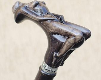 Custom Walking Cane NYMPH Fashionable Walking Stick Hand Carved Oak Wood Walking Sticks Canes Gift for Men Groom Groomsmen