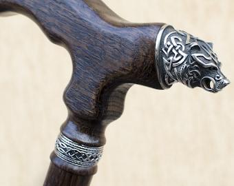VIP BEAR Walking Stick Walking cane Wood Cane Hand Carved Hiking Stick Wooden wa