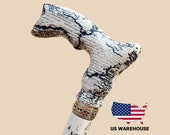 Cool Lightning Wooden Walking Cane Unique Hand Made Vintage Walking Stick Stylish Carved Canes for Men Classic Wooden Cane Solid Oak Wood