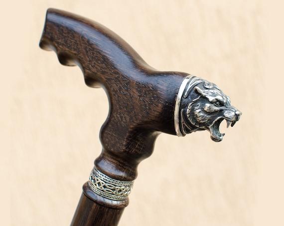 Custom Walking Cane for Men CELTIC BEAR Wooden Canes Hand Carved Walking  Stick for Men Vintage Wood Walking Canes Sticks
