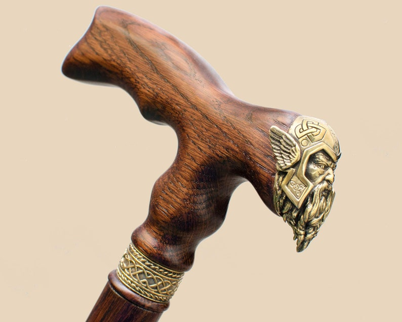Wooden Walking Cane Thor Fashionable Walking Stick Hand Carved Oak Wood Walking Sticks Canes Personalized Cane Gift For Men Gift For Grandpa
