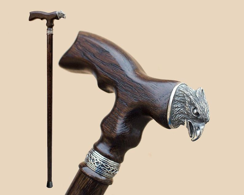 Hand Carved Eagle Walking Stick Wooden Cane 36 Inches Fashionable Designer Walking Canes Sticks For Men Women Fancy Vintage Walking Staff