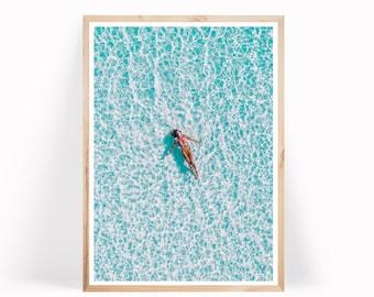 Blue Ocean Water Print, Ocean Printable, Coastal Wall Art, Ocean Poster, Large Wall Art, Ocean Waves Art, Beach Decor, Coastal Wall Decor