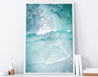 Ocean Art Print, Ocean Poster, Surf Art Print, Beach Surf Printable, Aerial Print, Ocean Wave Art, Modern Beach Print, Digital Printable