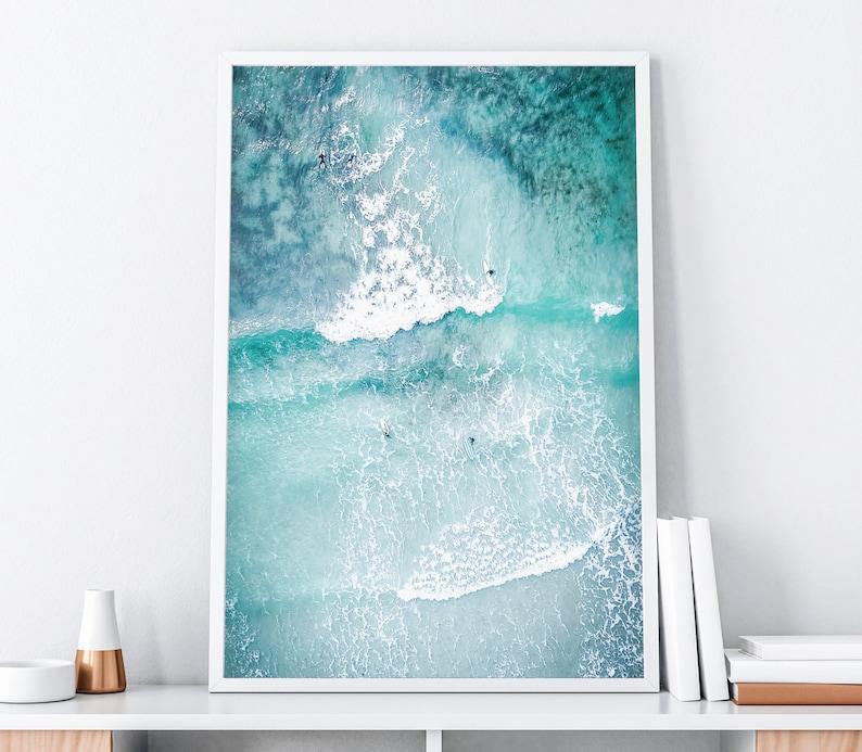 Ocean Art Print Ocean Poster Surf Art Print Beach Surf image 1