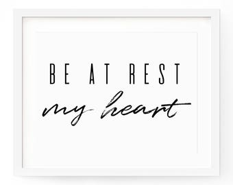 Be Still My Heart Quote Print - Quote Wall Art - Typography Print - Quote Printable - Quote Art Print