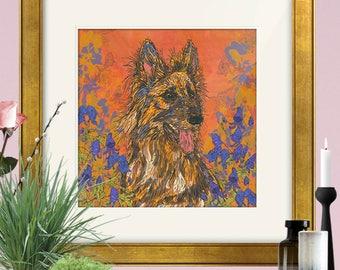 Framed and/or Mounted German Shepherd Art Print, German Shepherd Dog, Dog Print, Dog Art, 8 x 8/12 x 12/16 x 16 inches