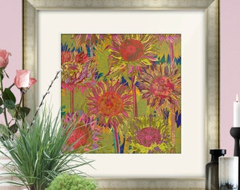 Framed and/or Mounted Sunflowers Art Print, Flower Art, Floral Print, Sunflower Print, 8 x 8/12 x 12/16 x 16 inches