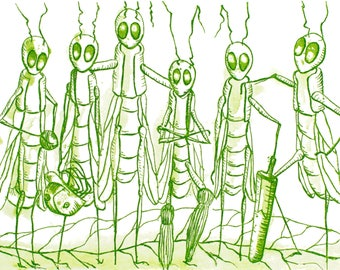 Cricket - 6x10 prints - fine art prints - giclee prints - intaglio printing - etchings - insect art - art wall - game of cricket