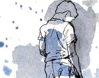 4x6 prints - giclee prints - watercolor prints - watercolor portraits - blue boy - gesture poses - body language signs - art wall